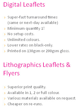 same day 24 hour leaflet flyer printing in london and ilford